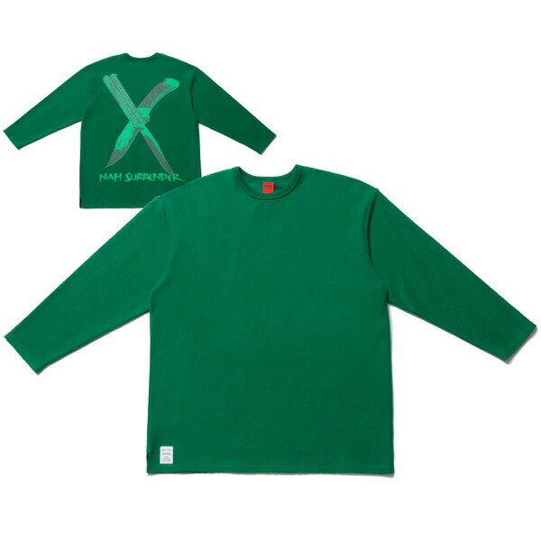 送料無料 NINE RULAZ LINE ナインルーラーズ Cross Knife 4/5 Sleeve Tee 8分袖 カットソー Tシャツ NRAW17-011 グリーン