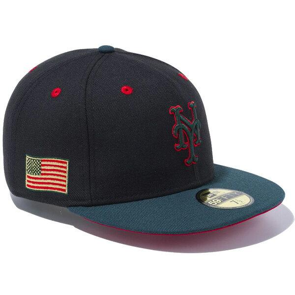 ニューエラ キャップ NEW ERA 59FIFTY リース ニューヨーク・メッツ キャップ ユニセックス 帽子 11475032 ブラック×グリーンバイザー
