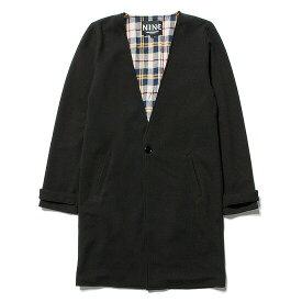 送料無料 NINE RULAZ LINE ナインルーラーズ Collarless Long Coat ロングコート NRSS17-001 ブラック