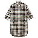 送料無料 NINE RULAZ LINE ナインルーラーズ Long Length Shirt 長袖 ロングシャツ ネルシャツ 七分袖 チェック メンズ NRSS17-008 カーキ