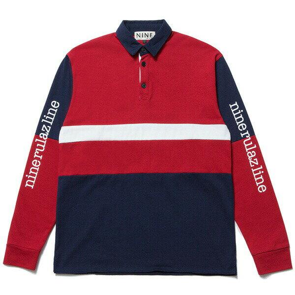 送料無料 NINE RULAZ LINE ナインルーラーズ Sports Rugby Shirt 長袖 ラグビーシャツ NRAW17-019 ネイビー×レッド