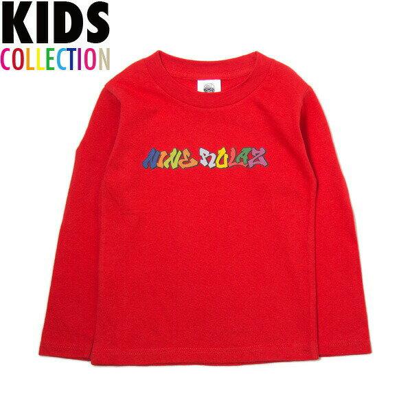NINE RULAZ LINE キッズ ナインルーラーズ Kid's Graffiti Logo L/S Tee 長袖 Tシャツ ロンT 子供服 NRKAW17-004 レッド