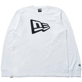 ニューエラ 長袖 コットン Tシャツ フラッグロゴ 送料無料 NEW ERA ロンT メンズ レディース ホワイト/ブラック 11783082