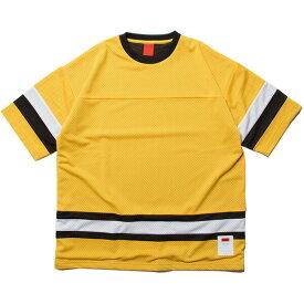 ナインルーラーズ Tシャツ フットボールTシャツ メッシュ 半袖 NINE RULAZ Mesh Football Tee NRSS18-022 イエロー