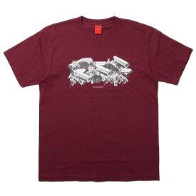 ナインルーラーズ Tシャツ 半袖 NINE RULAZ Serveillance Camera Tee NRSS18-024 バーガンディー