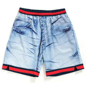 アップルバム ショートパンツ APPLEBUM Denim Ice Wash Basketball Shorts ショーツ バスパン デニムプリント メンズ ストリート HS1810802 ICE WASH アイスウォッシュ