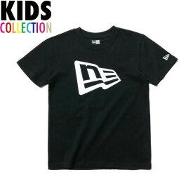 ニューエラ Tシャツ キッズ NEW ERA Kid's コットン Tシャツ 子供用 男の子 女の子 誕生日 プレゼント フラッグロゴ ブラック/ホワイト 130-160サイズ 11901434