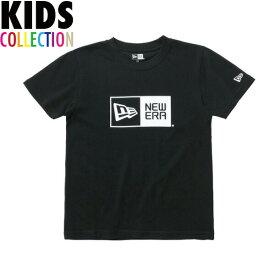 ニューエラ Tシャツ キッズ NEW ERA Kid's コットン Tシャツ 子供用 男の子 女の子 誕生日 プレゼント ボックスロゴ ブラック/ホワイト 130-160サイズ 11900252