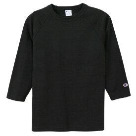 チャンピオン Tシャツ 7分袖 メンズ 送料無料 CHAMPION T1011 ラグラン3/4スリーブ MADE IN USA おしゃれ ブランド プレゼント ブラック S-XL C5-P404