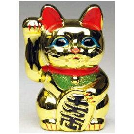 常滑焼 招き猫 梅月 黄金小判猫(右手)4号 高さ:13cm【座ぶとんは別売です】