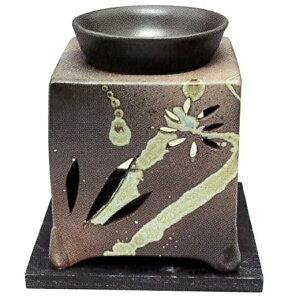 常滑焼・山房窯 茶香炉 杉板付 約10×10×12cm