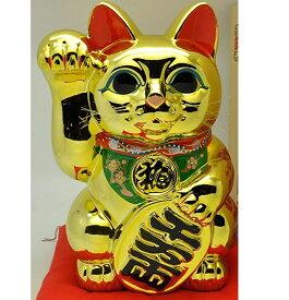常滑焼 招き猫 梅月 黄金小判猫(右手)10号 高さ:32cm【座ぶとんは別売です】※毎月の生産が少量の為、御注文順の発送になります。1ヶ月〜3カ月要する場合がございます。