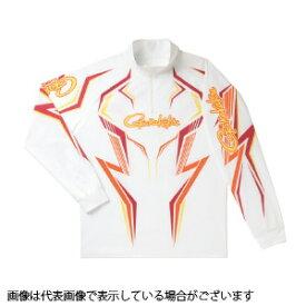 がまかつ GM3540 2WAYプリントジップシャツ(長袖) ホワイト/ワインレッド LL