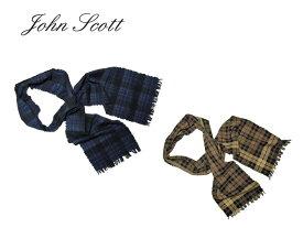 <ネコポス対応>【John Scott】ジョン・スコット Wool/Cotton Muffler ウール・コットンチェック柄マフラー