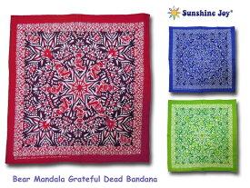 <ネコポス対応>【Sunshine Joy】サンシャインジョイ Bear Mandala Grateful Dead Bandana ベア・マンダラバンダナ