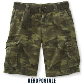 送料無料【27〜31インチ】【エアロポステール】メンズ ハーフカーゴ/Belted Bedford Cargo Pants(カラー:グリーン)【Aeropostale】【10P03Dec16】