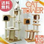 【送料無料】[キャットタワー]置き型キャットタワーロータイプQQ80083ベージュ[キャットランド猫タワー猫タワー据え置きフレンドタワー人気キャットハウス爪とぎつめとぎペットねこタワー]【D】