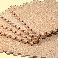 敷くだけでコルクの床に!優しい天然素材ジョイント式コルクマット18枚セット