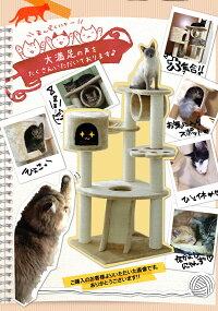 【送料無料】キャットタワー据え置きロータイプQQ80083ベージュ[猫タワーねこタワーキャットランド爪とぎおしゃれ置き型]【D】