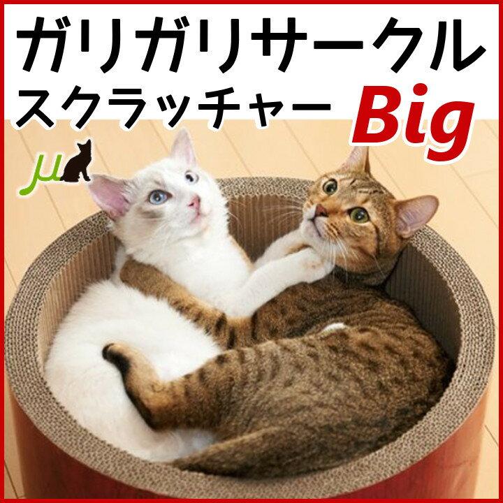 ガリガリサークル スクラッチャー ビッグ Mju: ミュー エイムクリエイツ 猫 爪とぎ つめとぎ 段ボール ダンボール 猫鍋 ねこなべ かわいい おしゃれ 大きめ 複数猫用 爪みがき ペット用品 キャットランド 【D】