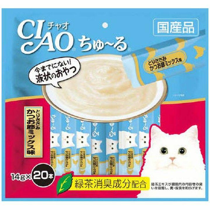 【最大350円OFFクーポン有】チャオちゅーる20本ささみかつお節 ちゅ〜る 猫 ネコ おやつ キャットフード ペットフード 海鮮 シーフード ペースト 液状 猫用品 いなば いなばペットフード 【D】