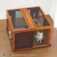 ペットケージペットサークル屋根犬用品ドッグペット木製スクエアペットルーム90-90屋根面ダークブラウンリッチェル