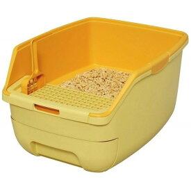 猫 トイレ 楽ちん猫トイレ フード無しセット RCT-530 グリーン オレンジ 猫トイレ本体 システムトイレ ハーフカバー フルオープン ネコトイレ 掃除 お手入れ簡単 清潔 2週間取り替え不要 猫用システムトイレ[P]
