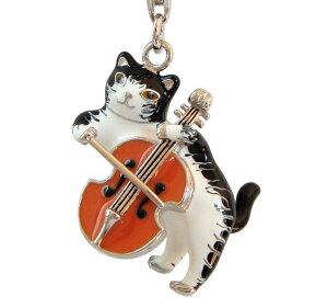チェロを弾いている猫ちゃんの立体的なペンダントです。
