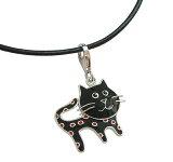 マンハッタナーズの猫がネックレスのペンダントになりました。かわいい黒い猫のネックレスのペンダントです。おしゃれな猫グッズと猫雑貨がプレゼントにおすすめです。