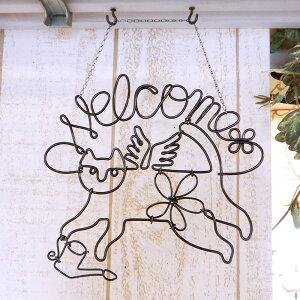 天使猫(水やり)ウェルカムプレート アンティーク風 ワイヤーアート ドアプレート ウェルカムボード ウォールアート ワイヤークラフト ハンドメイド 手作り 壁飾り 壁掛け 玄関 猫グッズ