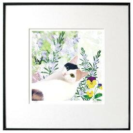 猫夢アート版画 「ローズマリー」ミケ ブチ【猫アート】【額 版画】【送料無料】アート 絵 猫