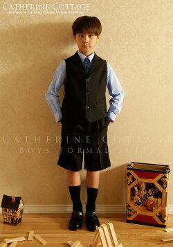 衿付ベストスーツ4点セット[ベスト/ハーフパンツ/シャツ/ネクタイ]110cm120cm130cm卒園式子供スーツ小学校キッズフォーマルスーツ男児スーツ入学式スーツ男の子