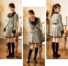適合女孩圓衣領 pettanko 羽席位 2 件套 [上衣或裙子]