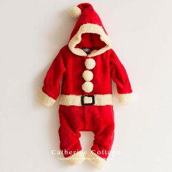 ベビー着ぐるみクリスマスもこもこロンパースワンピースコスチューム70809095cmサンタトナカイ赤ちゃん男の子女の子新生児出産祝いハロウィンクリスマス仮装ベビー服カバーオール【キャサリンコテージ】