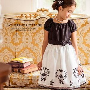 王冠とリボンと薔薇のモノトーンフロッキープリントドレスTAK フォーマル ドレス