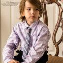 男の子 ネクタイ付きギンガムチェックシャツ[子供服 入学式 卒園式 七五三 結婚式 発表会 男の子 女の子 も キッズ フォーマル カジュアル 110 120 130 cm 長袖シャツ グレー 紫 通