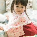 お宮参り ベビー服 袴ロンパース 女の子[70 80 90 cm ピンク 紫 はかま 和服 お宮参り お食い初め カバーオール 花柄 …