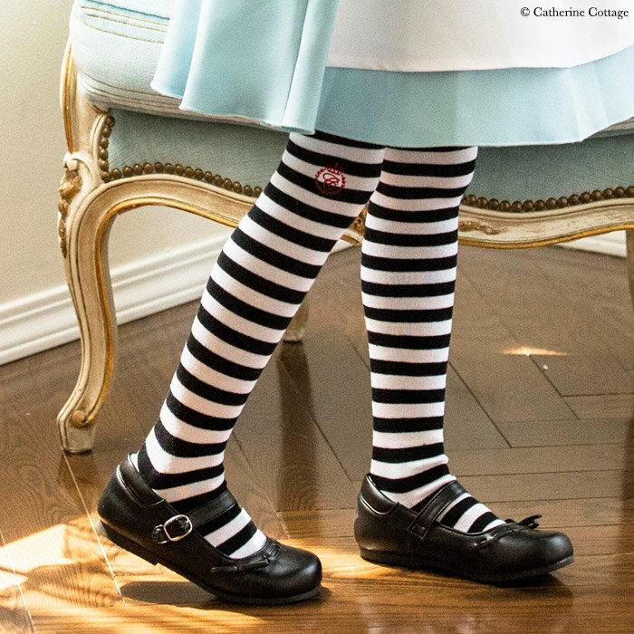 仮装 子供靴下 ボーダーニーハイソックス[女の子 靴下 キッズ ボーダー カジュアル アリスに合わせて 子ども 黒 白オーバーニーハイソックス ニーソ ニーハイ 衣装 ] YUP6