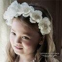 フラワーカチューシャ[ キッズ 女の子 フォーマル アクセサリー ピアノ 発表会 結婚式 花かんむり フラワーガール 七…