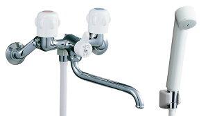 【あす楽】BF-K651 混合水栓 浴室 壁出しシャワーバス水栓 ツーハンドル 浴槽・洗い場兼用 2ハンドル イナックス・リクシル 浴室 シャワー取替え 蛇口 風呂 LIXIL