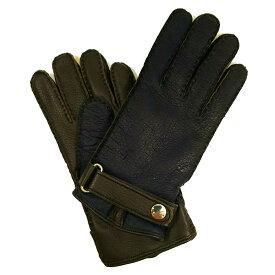 MEROLA GLOVES(メローラ)イタリア製 手袋 メンズ カシミヤライニング ME929002-87 ネイビーxブラウン ペッカリーx鹿革 ハンドメイド ローマ 映画衣装