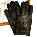 MEROLA GLOVES(メローラ)イタリア製 ドライビング グローブ メンズ ME929008-99 ブラック 羊革xブラック 綿メッシュ編み 手袋 Drivin…