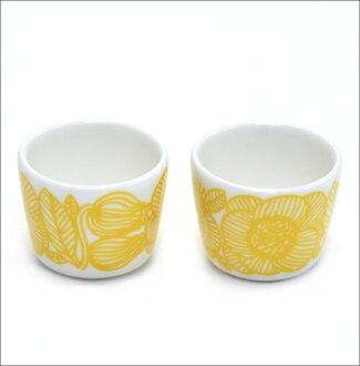 MARIMEKKO 마리멕코 KURJENPOLVI EGG CUP 30 ml 2 PCS 크루옌포르비제라니움의 꽃에그 스탠드 컵 2개 세트 066359 120 white/yellow