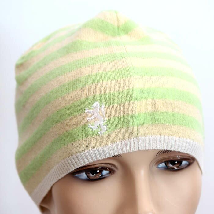 【期間限定】PRINGLE プリングルウール ニット帽 PLH051 LMJ1 グリーンボーダー ロゴマーク刺繍 キャップ 帽子【新品・未使用・正規品】