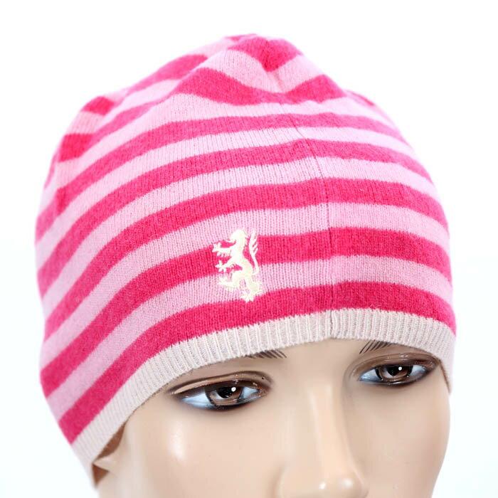 【期間限定】PRINGLE プリングルウール ニット帽 PLH051 LMJ2 ピンク ボーダー ロゴマーク刺繍 キャップ 帽子【新品・未使用・正規品】