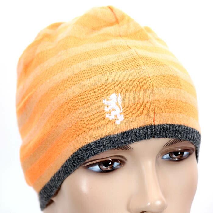 【売れ筋】PRINGLE プリングルウール ニット帽 PLH051 LMJ4 オレンジ ボーダー ロゴマーク刺繍 キャップ 帽子【新品・未使用・正規品】売れ筋