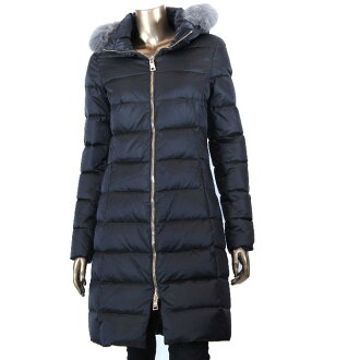 HERNO PI0377D13116 9450 Womens down jacket herein black down coat with food fox fur plate logo