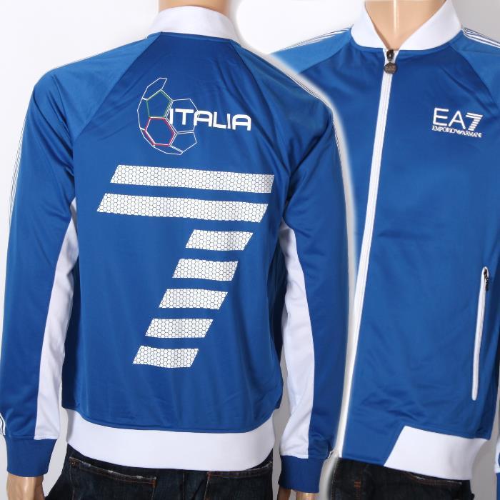 【売れ筋】EMPORIO ARMANI エンポリオアルマーニ トラックジャケット ブルー 274404 6P281 00033 ジャージー ジャケット サッカー ITALIA イタリア メンズ  【新品・未使用・正規品】