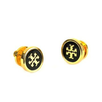 TORY BURCH Tolly Birch 35063 pierced earrings BK/GO 010 black gold