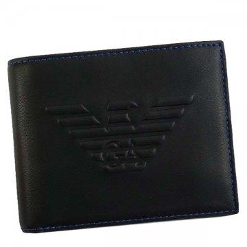 EMPORIO ARMANIエンポリオアルマーニ Y4R165 YG90J 81072 BK二つ折り財布【】【新品/未使用/正規品】
